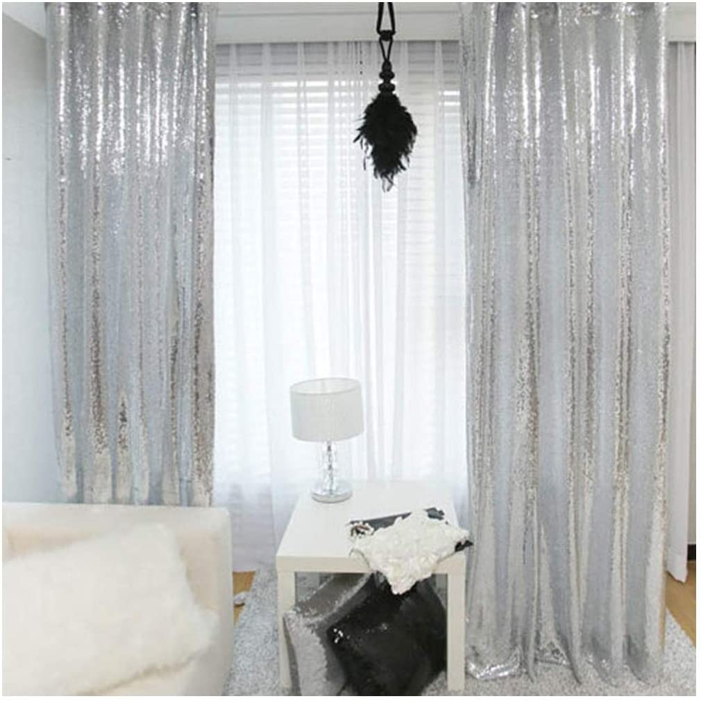 2 Pieces 2FTx8FT Silver Sequin Curtain Wedding Party Backdrop Photography Background Sequin Panels