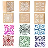 #10: Wooden Rubber Stamp Square Floral Pattern For DIY Craft Card and Scrapbooking Designs