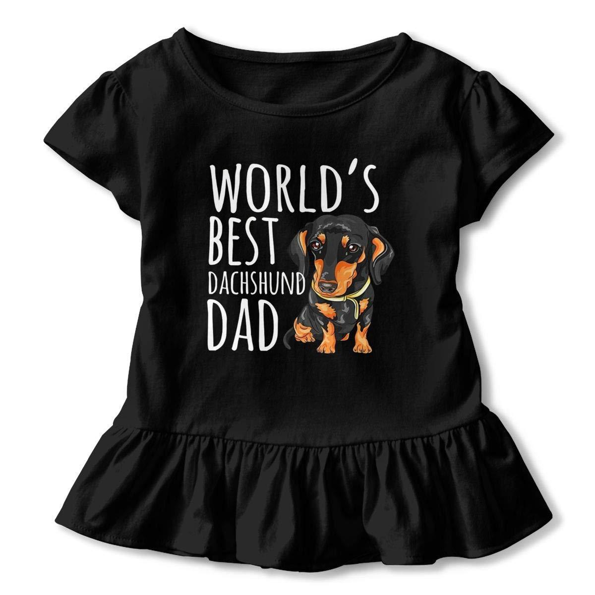 lu fangfangc World Best DAD T-Shirt Kids Flounced T Shirts Soft Tee Shirts for 2-6T Kids Girls