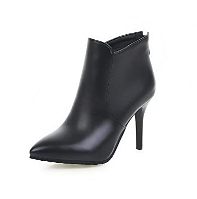 Women's Pointed Closed Toe Solid Low Top Spikes Stilettos Boots