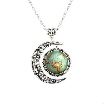 Amazon lerydesi moon jewelry vintage globe necklace planet lerydesi moon jewelry vintage globe necklace planet earth world map art pendant world map necklace gumiabroncs Gallery