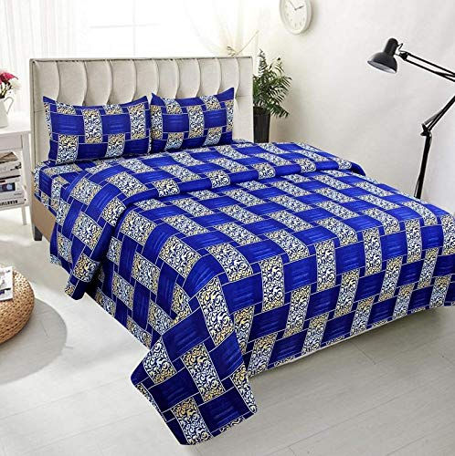 Global Home 3D 180 TC II Double bedsheets with 2 Pillow Covers II Size – 225 cm X 235 cm II Blue Box