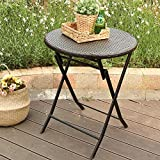 PHI VILLA 24'' Outdoor Resin Rattan Wicker Folding Table Patio Porch Bistro Dining Table