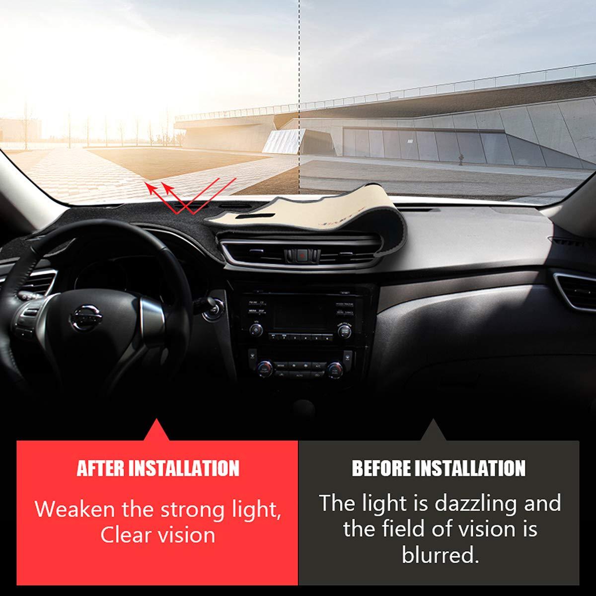 Autoxrun Dashmat Dashboard Cover Dash Pad Car Mat Carpet Sun Shade Fits 2014-2018 Nissan Rogue X-Trail