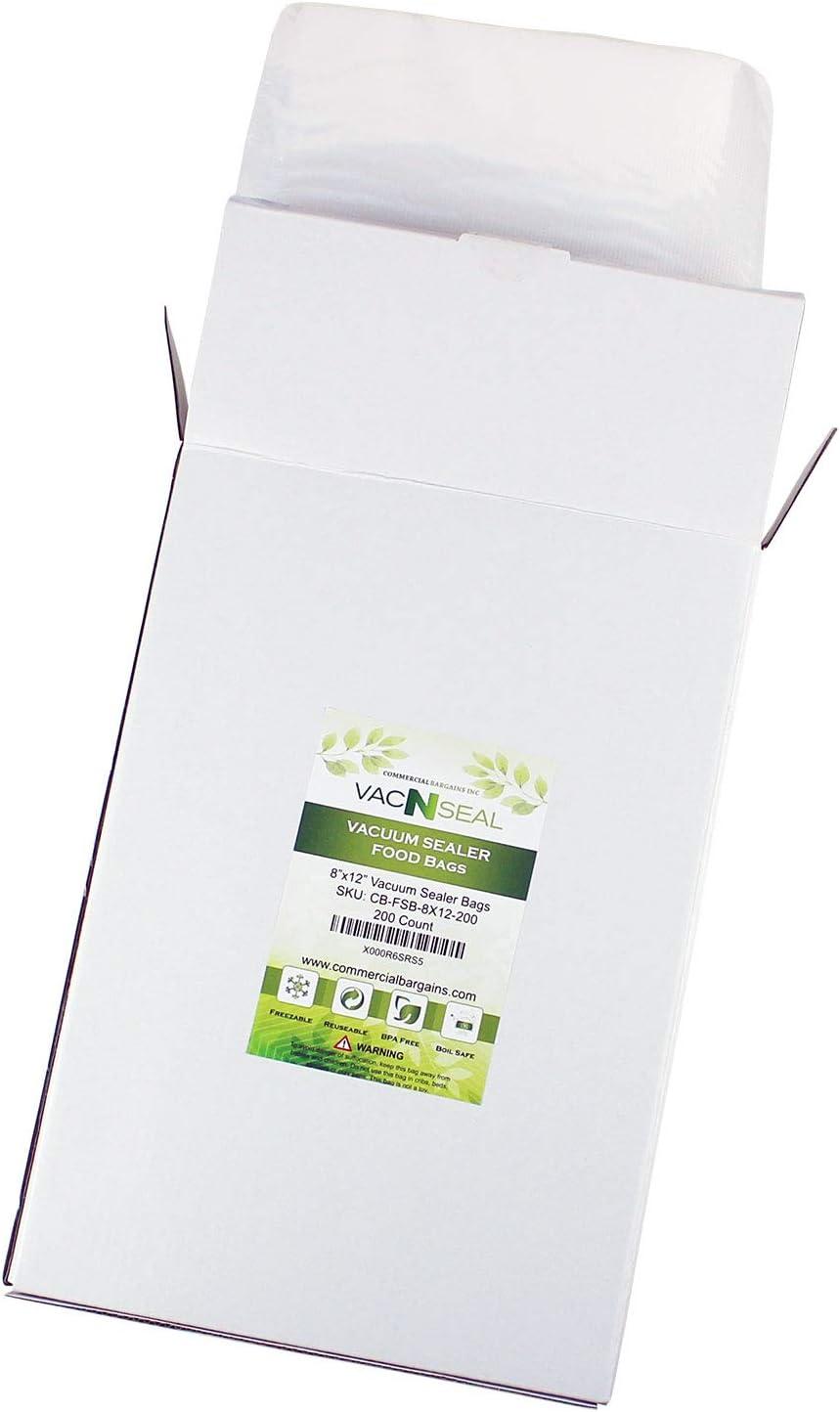 "Commercial Bargains 200 CT 8"" x 12"" Vacuum Food Sealer Storage for FoodSaver Freezer Bags Quart Size Sous Vide"