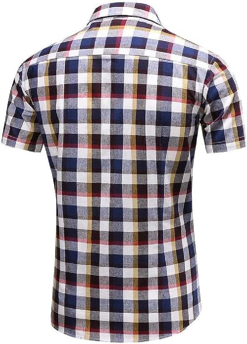Sweatwater Mens Summer Plaid Short Sleeve Lapel Neck Curved Hem Button Down Shirts