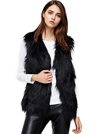 Anna&Chris Womens Soft Sleeveless Faux Fur Vest Gradient Waistcoat ...