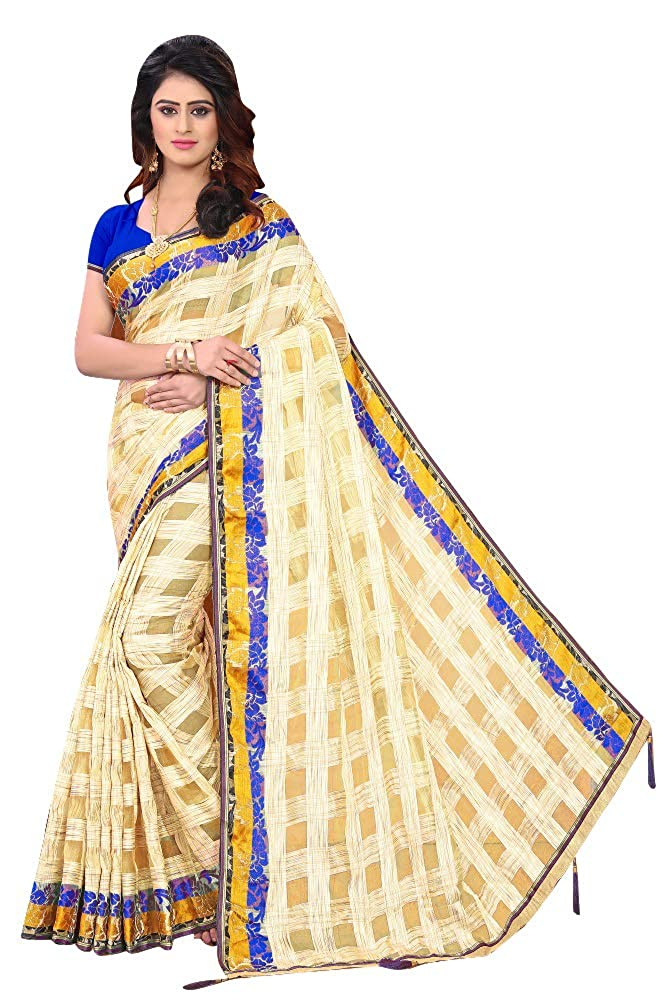Florence Women's Beige Jacquard Organza Printed Saree With