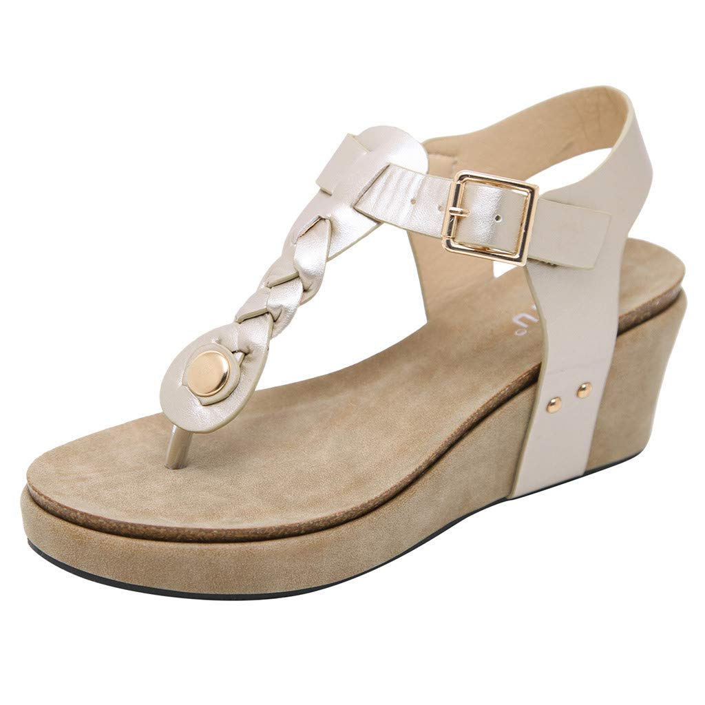 Women's Low Wedge Dress Sandals - ✔ Hypothesis_X ☎ Casual Flip Flops Buckle Strap Wedges Sandals Platforms Shoes Gold by ✔ Hypothesis_X ☎ Shoes