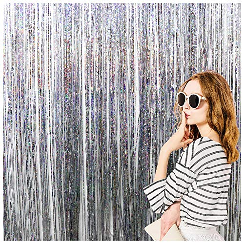 Sliver Foil Fringe Curtains Party Decor Curtains Fun Photo Booth Props Backdrop Birthday Wedding Party Window Door Decorations (2 packs, 6.5 * 3.2 Ft) ()