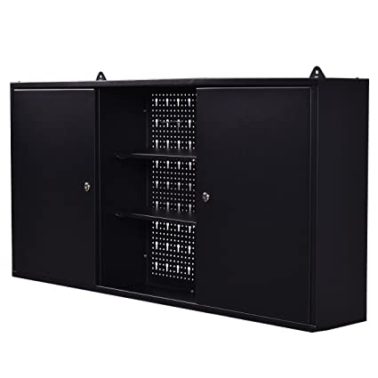 Superbe Goplus Wall Mount Hanging Tool Box Storage Cabinet Lock Home Office Garage  Black New