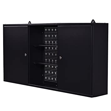 Goplus Wall Mount Hanging Tool Box Storage Cabinet Lock Home Office Garage Black New