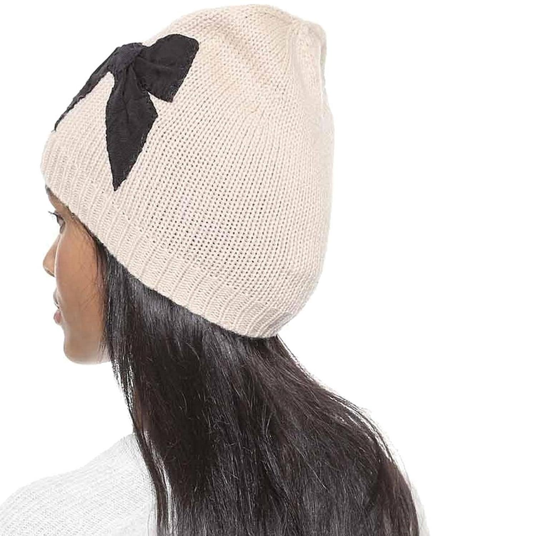Winter Retro Dome Knit Cap Decorative Bow Stitching Beanie Hat