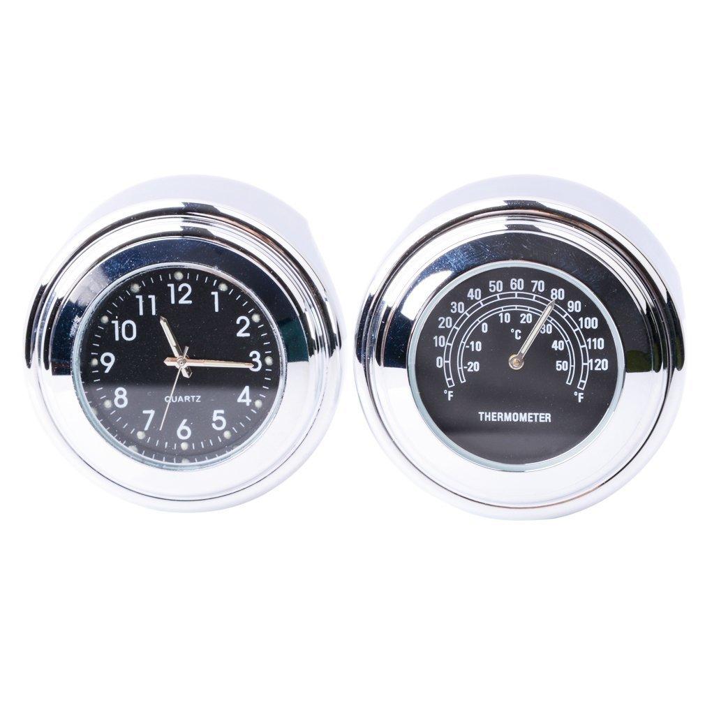 FICBOX® 2 in 1 Universal Motorcycle Handlebar Clock and Thermometer Waterproof Black Dial Noctilucent 7/8'' & 1'' Handlebar Mount for Yamaha Kawasaki Honda Suzuki Harley Davidson - 2 in 1 (Black)
