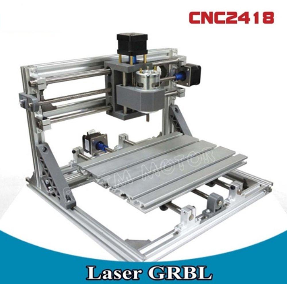 3 Axis DIY Mini Desktop 2418 GRBL Control Laser Machine CNC Router Engraver Engraving Milling Plastic Acrylic Pcb Pvc Wood (24x18x4.0cm)