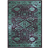 Maples Rugs Area Rugs – Georgina 5 x 7 Non Slip Large Rug [Made in USA] for Living Room, Bedroom, and Dining Room, 5′ x 7′, Wineberry/Teal For Sale