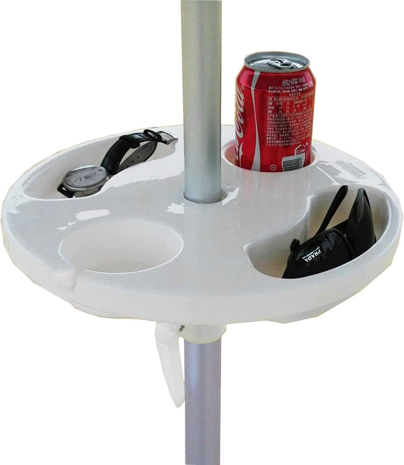 AMMSUN 12 Beach Umbrella Table Tray for Beach, Patio, Garden, Swimming Pool with Cup Holders, Snack Compartments White