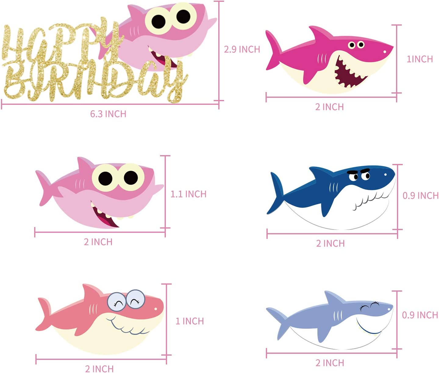 FunPartyDecorBaby Shark Cake Topper Birthday Party Decorations Shark Cupcake Toppers For Children/'s Party Shark Theme Party Supplies
