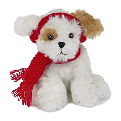 Bearington Chilly Plush Stuffed Animal Brown and White Dog with Scarf, 7.5 inches: Toys & Games