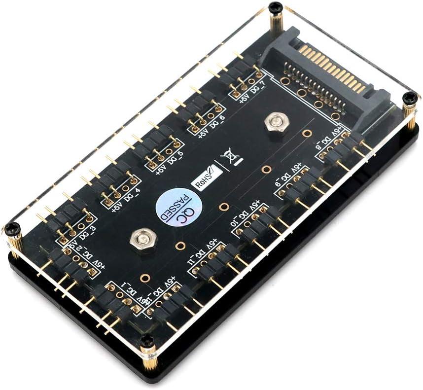 Buje Divisor LED de 12 vías 5V RGB con Estuche de PMMA y Separador magnético para el Controlador ASUS/MSI 5V 3pin LED