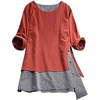 Paolian Tee-Shirt Femme en Coton et Lin Grande Taille T-Shirt à Coutures écossaises, Base Douce et Confortable à Manches Longues(M/L/XL/XXL/XXXL/XXXXL/XXXXXL)