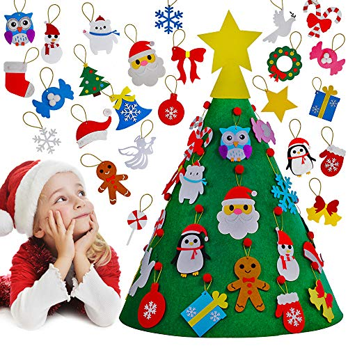 3D DIY Felt Christmas Tree Toddler Christmas Tree with Gold Star Tree Topper and 26 Pcs Hanging Ornaments Candy Cane Jingle Bell Gingerbread Man Santa Snowflake Snowman for Kids Holiday Decoration (Crafts Christmas Penguins)