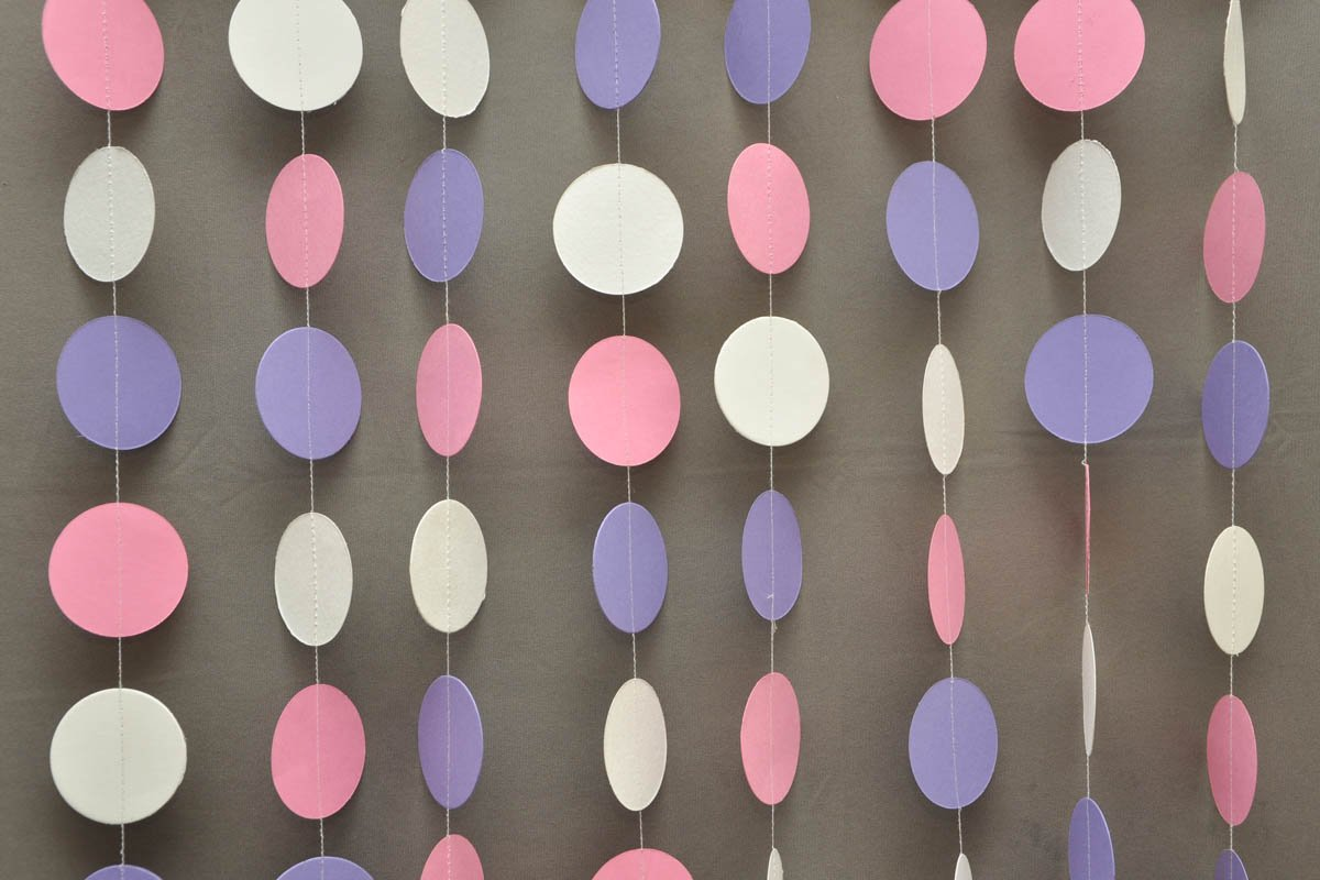 Easter banner Paper garland Easter decor First birthday decor Boston Creative company K-C-0001 Baby shower decorations Pink white /& lilac garland