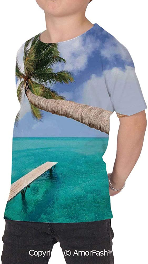 Beach Distinctive Childrens Premium Polyester T-Shirt,XS-2XL,Palm Tree Bend Ove