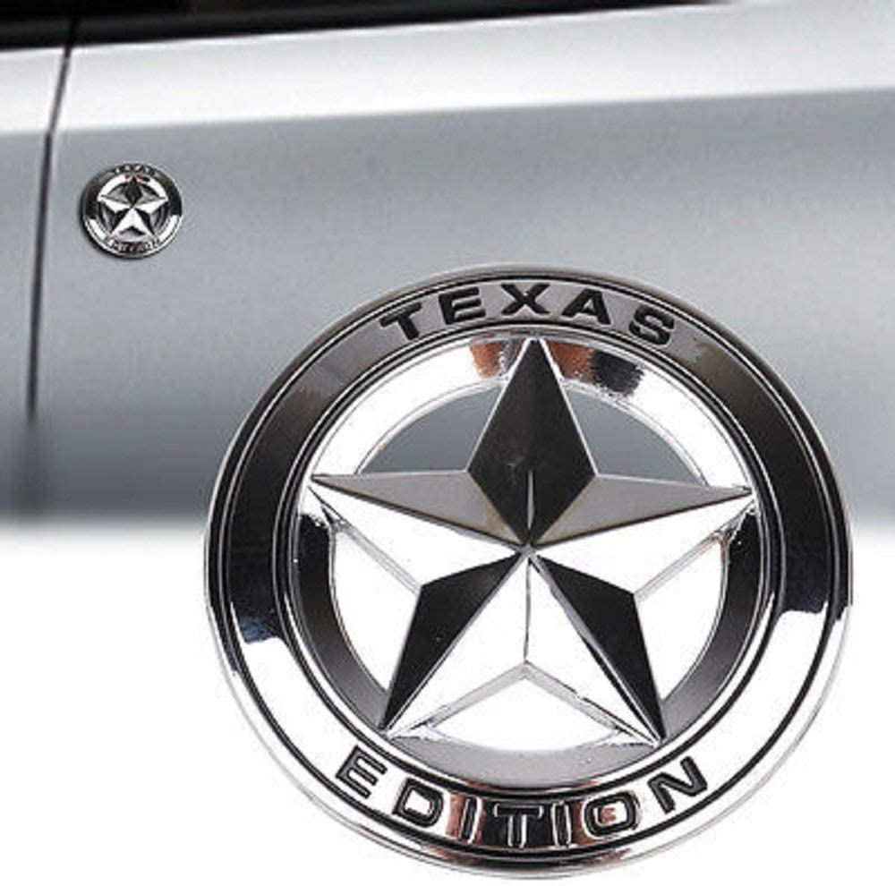 GO-UPP 3D Metal TEXAS EDITION Star Car Side Rear Truck Motor Emblem Bagde Stickers Decals For Ford JEEP Dodge Mercedes BMW Mustang Ranger Volvo Chevrolet Nissan Mazda Audi VW Nissan Honda Toyota Highlanger Lexus Lincoln SUV