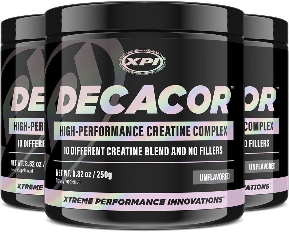 Decacor Creatine 3 Pack – Best Creatine Powder – 10 Creatine Blend – Top Creatine Supplement – Enhance Muscles, Power and Recovery