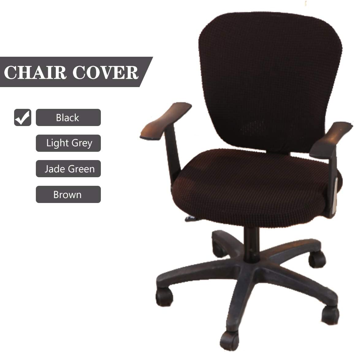 CAVEEN Stretch Office Computer Chair Covers Universal Protective Seat Cover Removable Washable Anti-dust Chair Slipcover 2-Pack Black