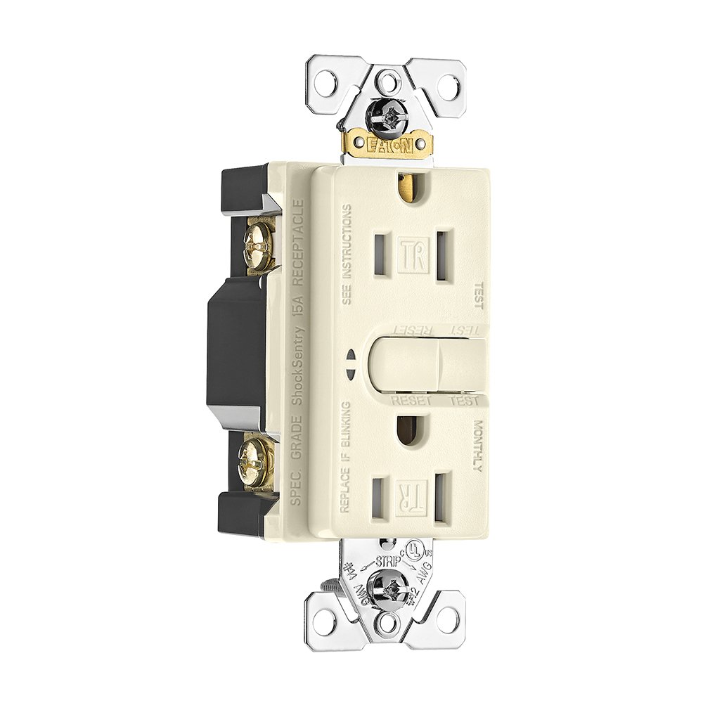 Eaton Aspire Gfci Self Test 15a 125v Tamper Resistant Duplex Ivory Electrical Outlets Light Switches Gfi Outlet Receptacle Desert Sand