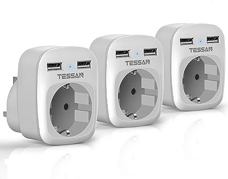 TESSAN 3 Paquetes Adaptador Enchufe Ingles UK Inglaterra Adaptador de Viaje con 2 USB (2.4A), Español 2 Patas Europa Hacia 3 Patas Reino Unido RU para Irlanda Escocia Britanico (Tipo G) Blanco: Amazon.es: Electrónica