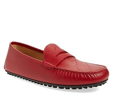 7128db90c Amazon.com: Gucci Men's Signature Driver, Red (Hibiscus) 431063: Shoes
