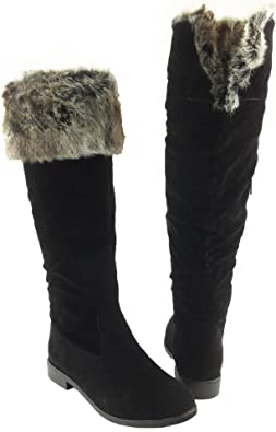 US Womens Faux Fur Winter Warm Snow Knee High Boots Riding Boot Shoes Size 5-11