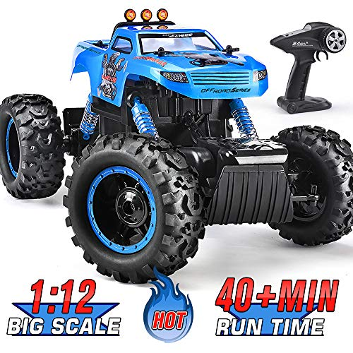 Remote Control Trucks Monster RC Car 1: 12 Scale Off Road Vehicle 2.4Ghz Radio Remote Control Car 4WD High Speed Racing All Terrain Climbing Car Gift for Boys