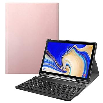 Fintie Funda con Teclado Inglés para Samsung Galaxy Tab S4 10.5, Oro Rosa: Amazon.es: Electrónica