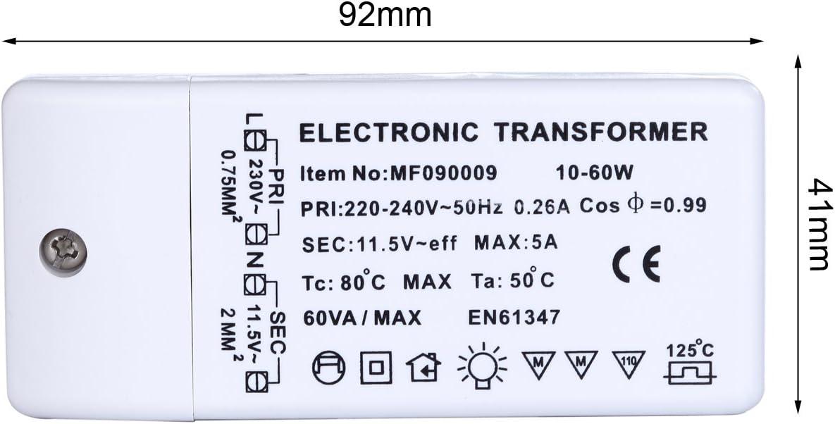 Liqoo® 10-60W Transformador de Halógeno AC 12V Transformador ...