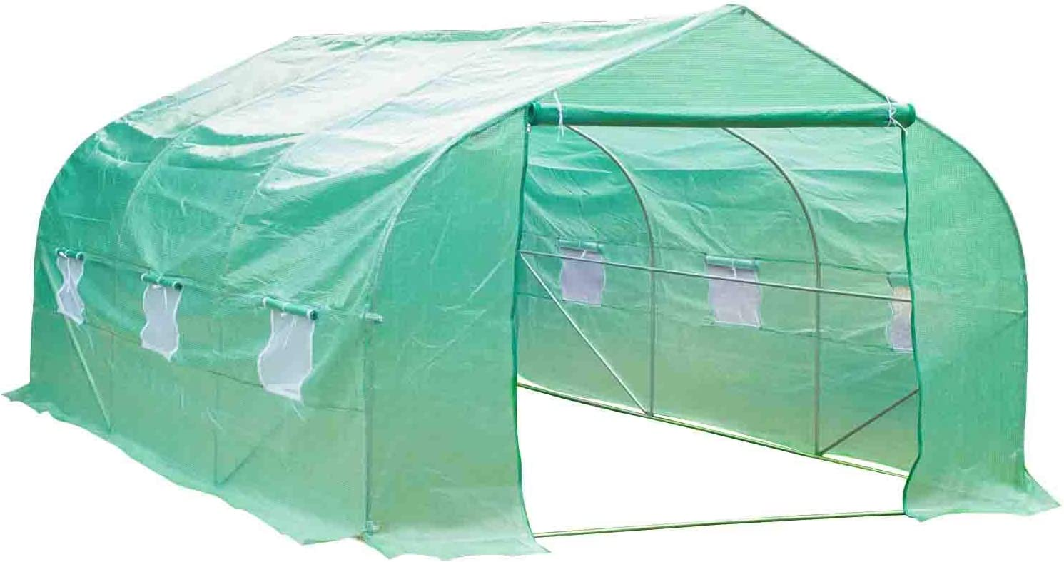GALSOAR Greenhouse,Upgrade 12'x10'x7' Large Portable Greenhouse,Heavy Duty Walk-in Plant Hot House, Tunnel Garden with Zipper Door and 6 Roll-Up Windows, Green
