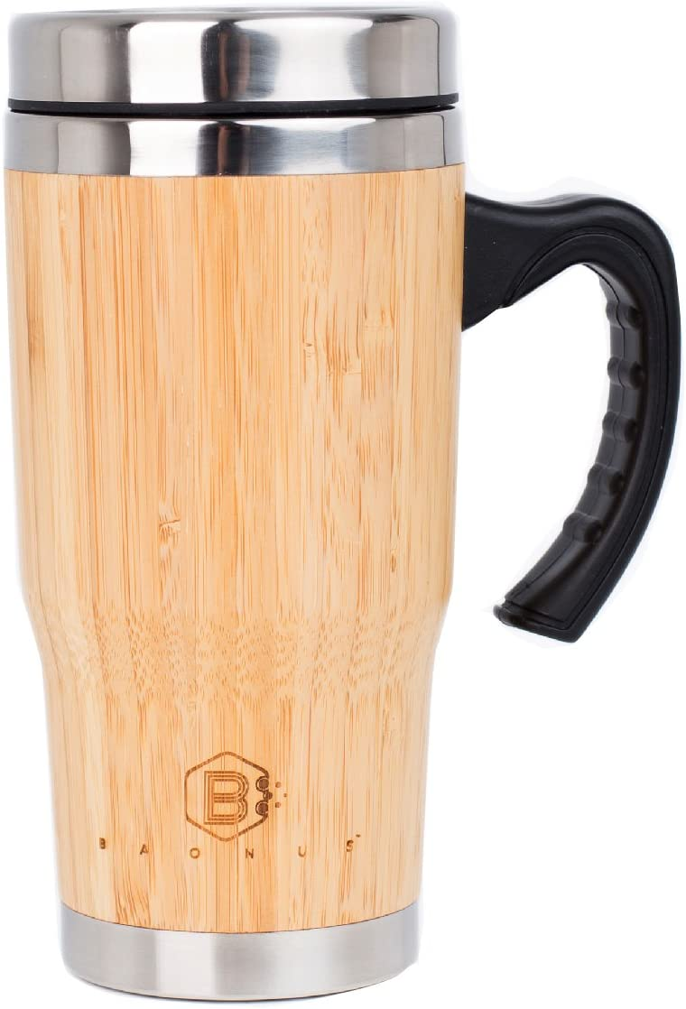 BAONUS Original Bamboo Travel Coffee Tumbler with handle Bamboo Stainless Steel Insulated Bottle Eco-friendly Coffee Tea mug 16oz