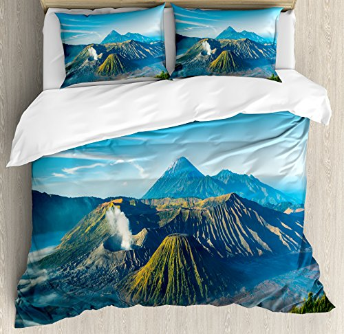 Volcano Queen Size Duvet Cover Set by Ambesonne, Mount Bromo Volcano During Sunrise in East Java Indonesia Majestic Nature, Decorative 3 Piece Bedding Set with 2 Pillow Shams, Sky Blue Green White by Ambesonne
