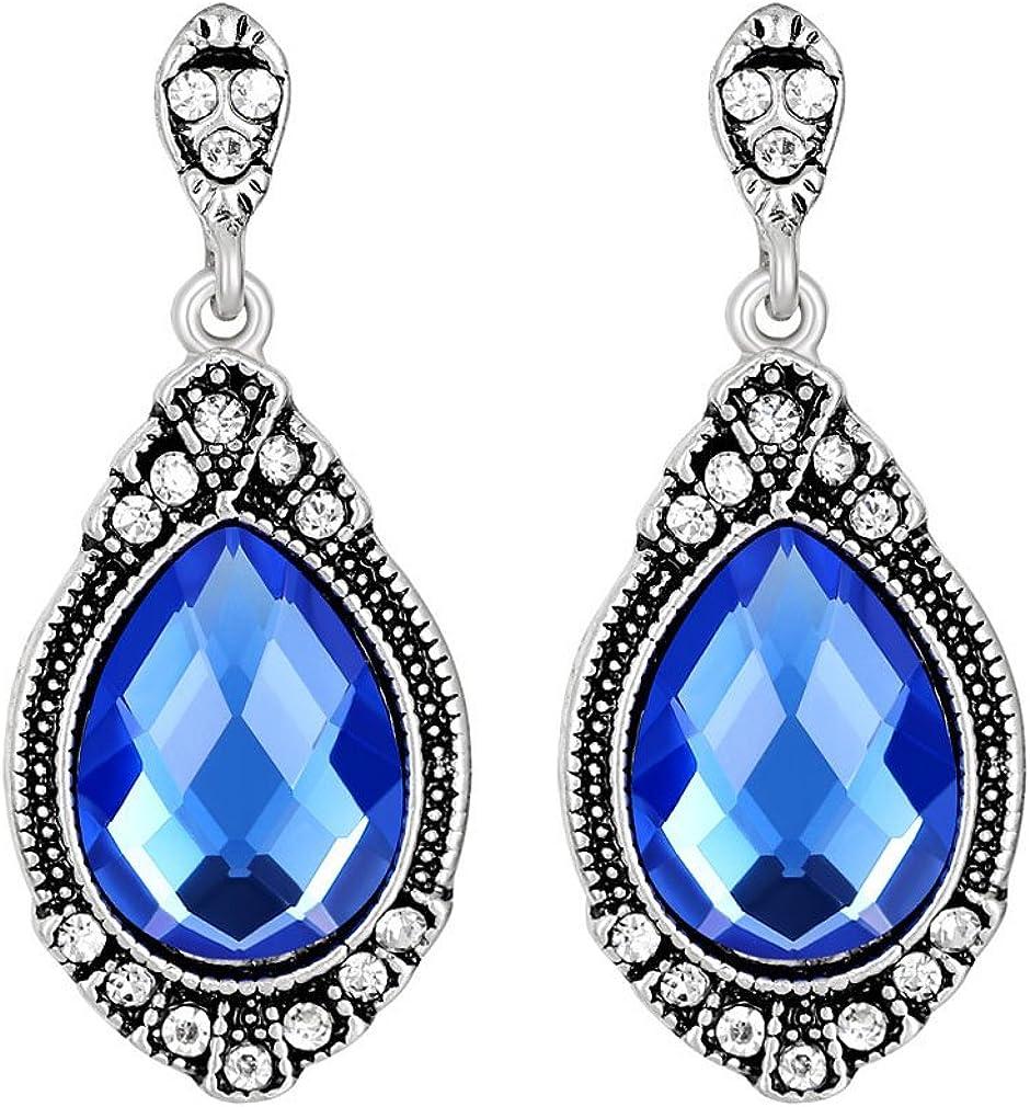 YAZILIND Pendientes de diamantes de imitación de tanzanita Pendientes plateados de circonio plateados piedra preciosa
