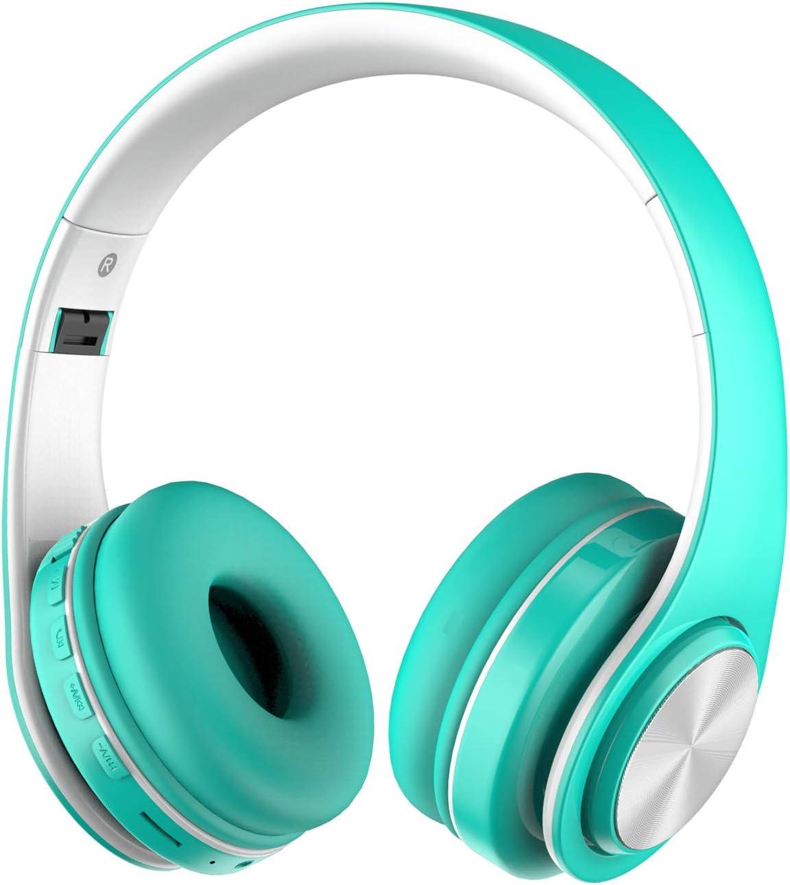 Alitoo Auriculares Inalámbricos Bluetooth Estéreo Plegable Auriculares de Diadema con Micrófono Cancelación de Ruido sobre Oreja Cascos para iPhone,PC,TV,Tableta,Android,MP3 y MP4 (White&Lgreen): Amazon.es: Electrónica
