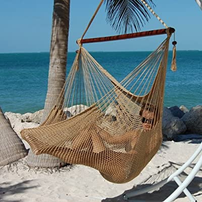 "Caribbean Hammocks Polyester Hanging Chair, Large, 48"" L, Tan - Large size 48 inch: Comfortable for any size person 100% soft-spun polyester cords prevent rot, mold and mildew Hardwood spreader bar with multiple coats of marine varnish: For shine and protection - patio-furniture, patio, hammocks - 61qBHlFbGgL. SS400  -"