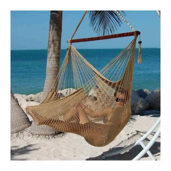 "Caribbean Hammocks Polyester Hanging Chair, Large, 48"" L, Tan - Large size 48 inch: Comfortable for any size person 100% soft-spun polyester cords prevent rot, mold and mildew Hardwood spreader bar with multiple coats of marine varnish: For shine and protection - patio-furniture, patio, hammocks - 61qBHlFbGgL. SS570  -"