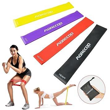 Bandas de Resistencia, MORECOO Paquete de 4 bandas de ejercicio perfecta para realizar fitness, pilates, ejercicio, rehabilitación y fisioterapia (4 ...