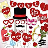 Wedding Photo Booth Props for Wedding Party Decoration - 35 Pieces,Installed at The Stick Valentine Mustache Hat,Glasses Mouth, Crown Ring, Woman, Man and so on