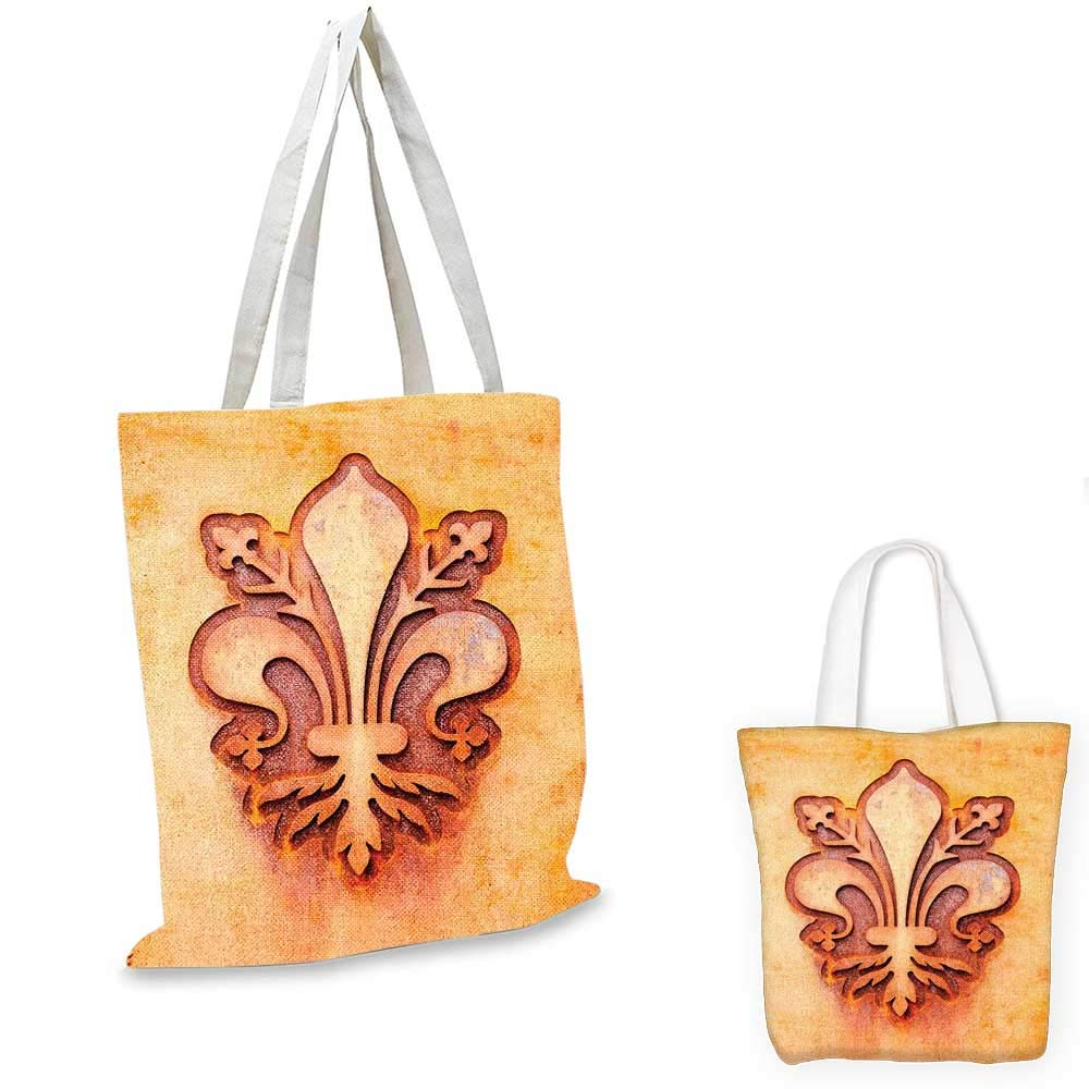 Fleur De Lis canvas messenger bag Geometrical Rhombus Arrangement Western Culture Royal Lily Pattern fruit shopping bag Ruby Yellow White 14x16-11