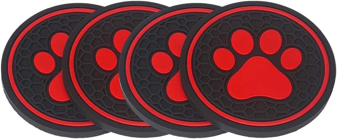 MLING Auto 3D Sottobicchieri Portabevande Tappetini Antiscivolo Anti-Polvere Modello di Zampa di Cane Sottobicchieri Auto Accessori Rosso