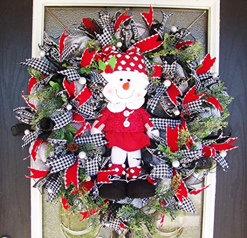 XL Deluxe SnowGirl Houndstooth Red Velvet Evergreen Deco Mesh Christmas Wreath, Berries & Pinecones, Porch Patio Wall Fireplace, Yard Prop